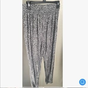 H&M Black and White Patterned Jogger Style Pants